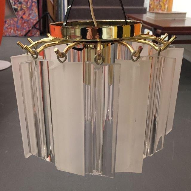 Vintage Lucite With Gold Brass Frame Chandelier - 2