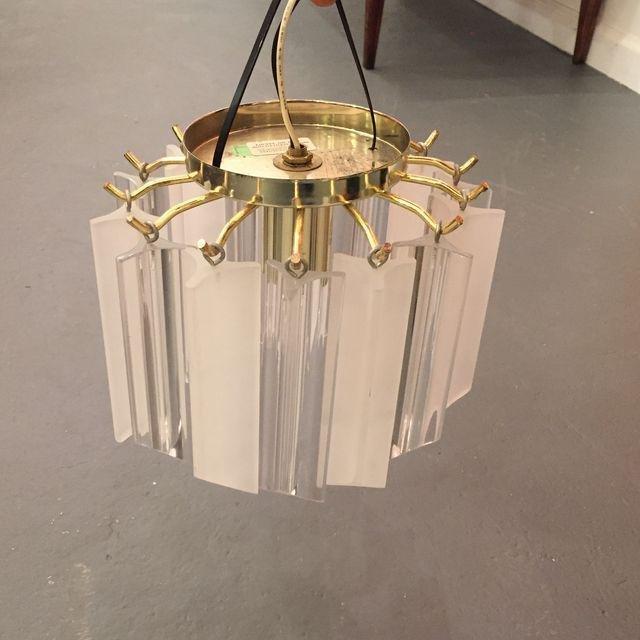 Vintage Lucite With Gold Brass Frame Chandelier - 5