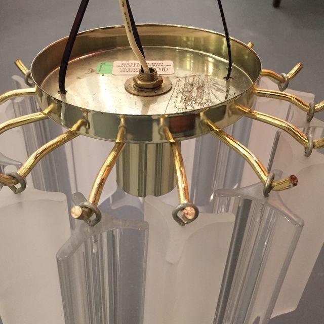 Vintage Lucite With Gold Brass Frame Chandelier - 7