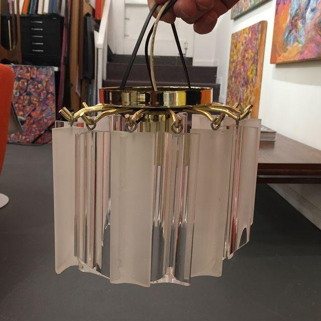 Vintage Lucite With Gold Brass Frame Chandelier - 8