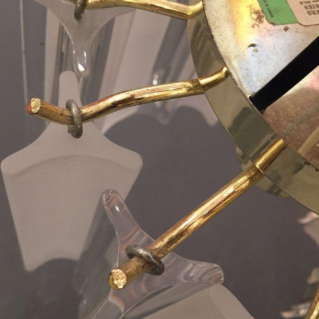 Vintage Lucite With Gold Brass Frame Chandelier - 9
