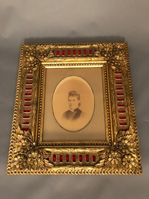 Antique French Gold framed with Female Photo