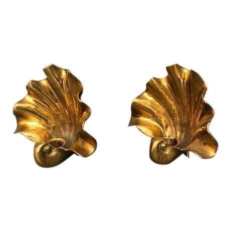 Mid Century Brass Candle wall scones shell shape
