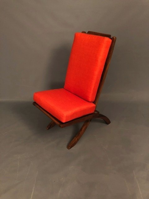 Mid-Century Folding Accent Walnut Chair