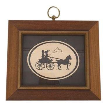 Vintage Framed Horse Buggy Silhouette Picture