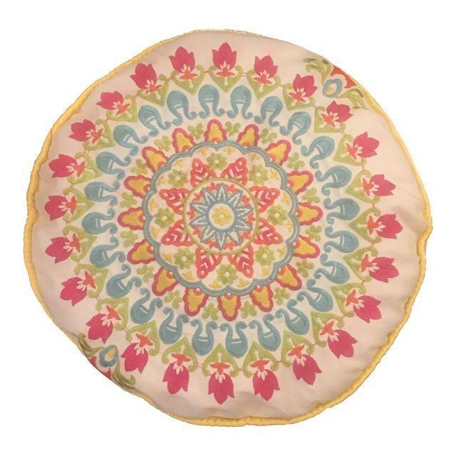 Handmade Embroidered Round Yellow Trim Pillow