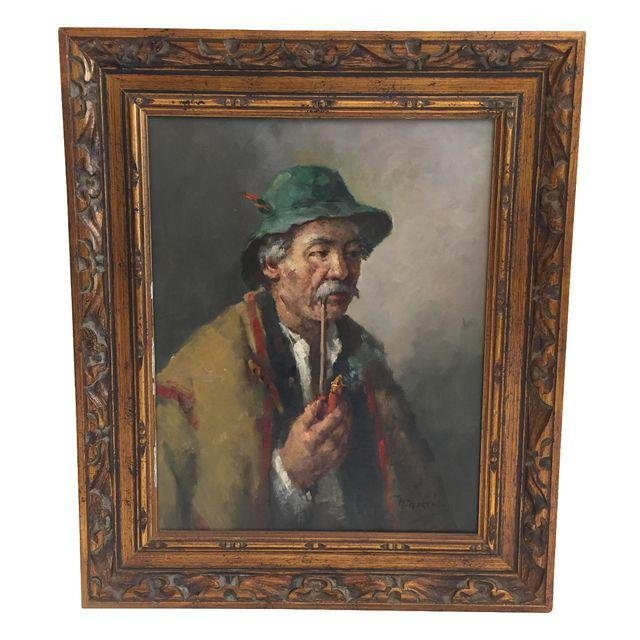 """H. Horvath """"The Man With The Pipe"""" Hungarian Painting"""