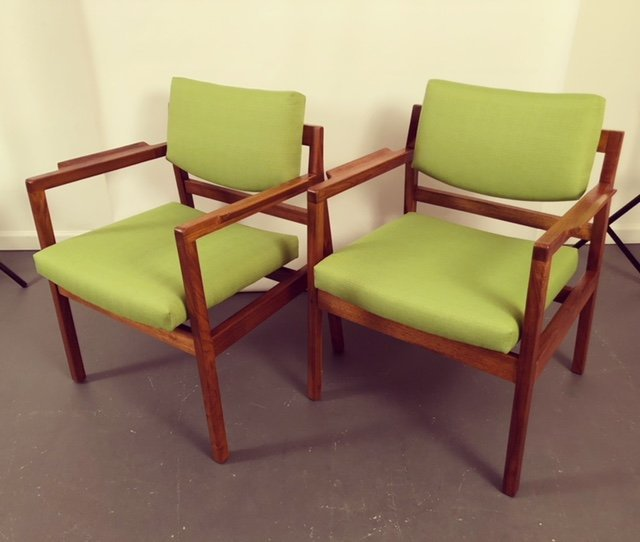 Mid-Century RESTORED pair of Jens Risom Arm chairs