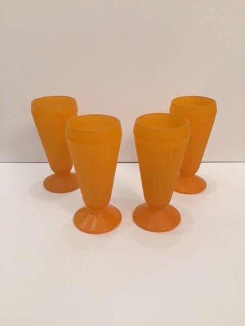 Mid-Century orange art glass tall drinking glasses