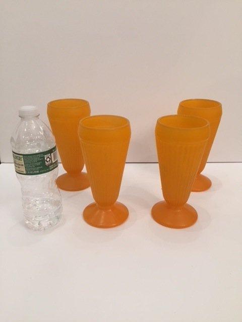 Mid-Century orange art glass tall drinking glasses - 2