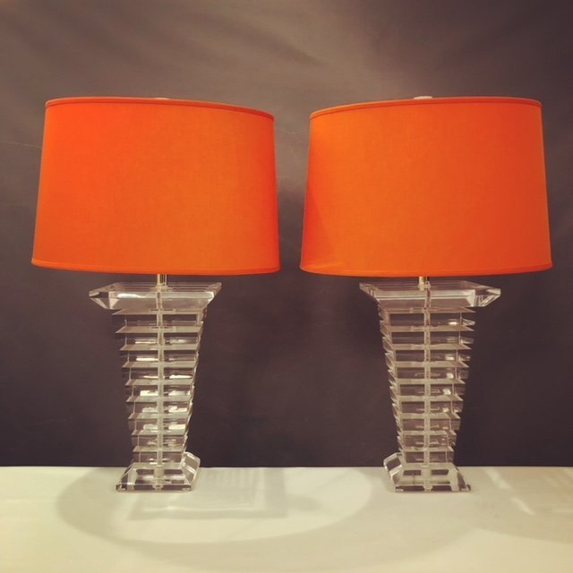 Tapered Stacked Lucite Table Lamps - a Pair - 2