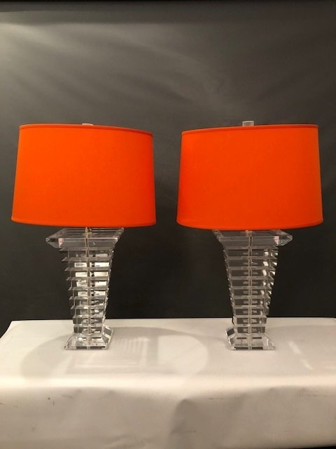 Tapered Stacked Lucite Table Lamps - a Pair - 3