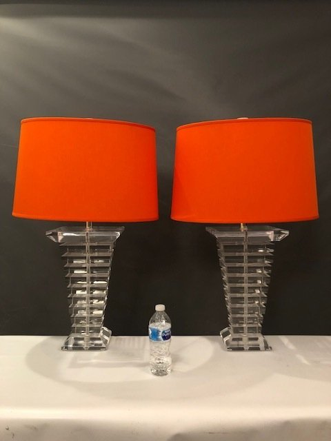 Tapered Stacked Lucite Table Lamps - a Pair - 4