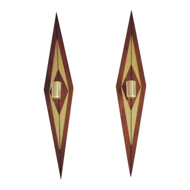 1970s Mid-Century Modern Candle Wall Sconces - a Pair