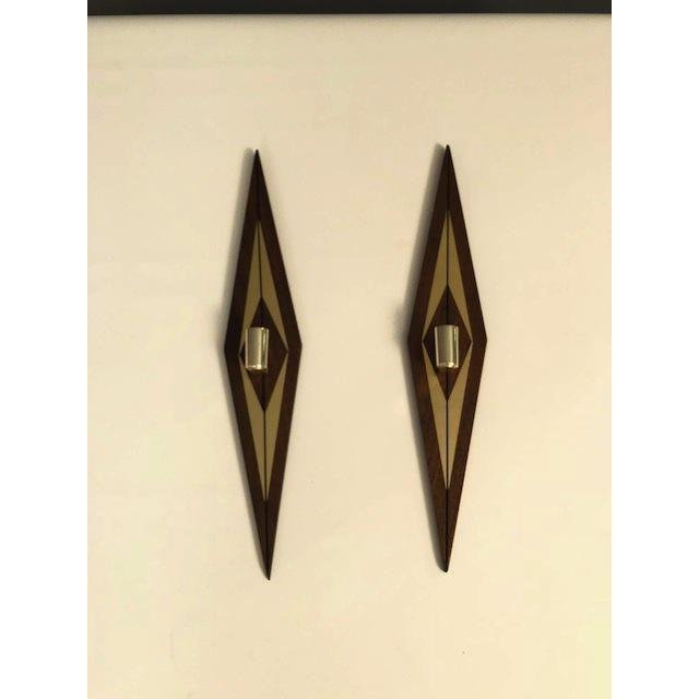 1970s Mid-Century Modern Candle Wall Sconces - a Pair - 4