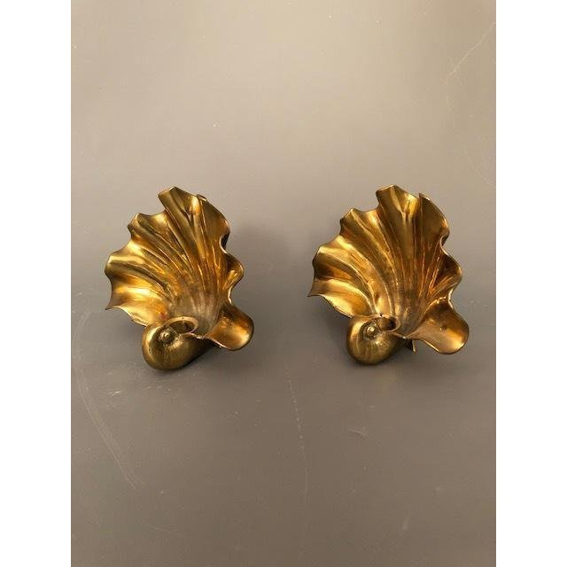 Hollywood Regency Brass/Gold Shell Wall Sconce - 6
