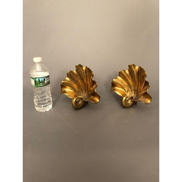 Hollywood Regency Brass/Gold Shell Wall Sconce - 9