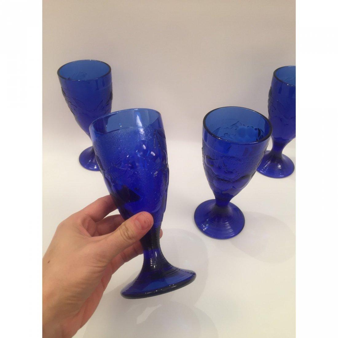 Blue Art Glass Goblets - Set of 4 - 2