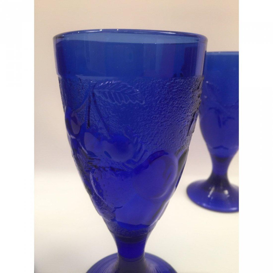 Blue Art Glass Goblets - Set of 4 - 3