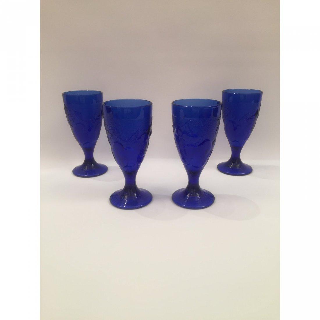 Blue Art Glass Goblets - Set of 4 - 4
