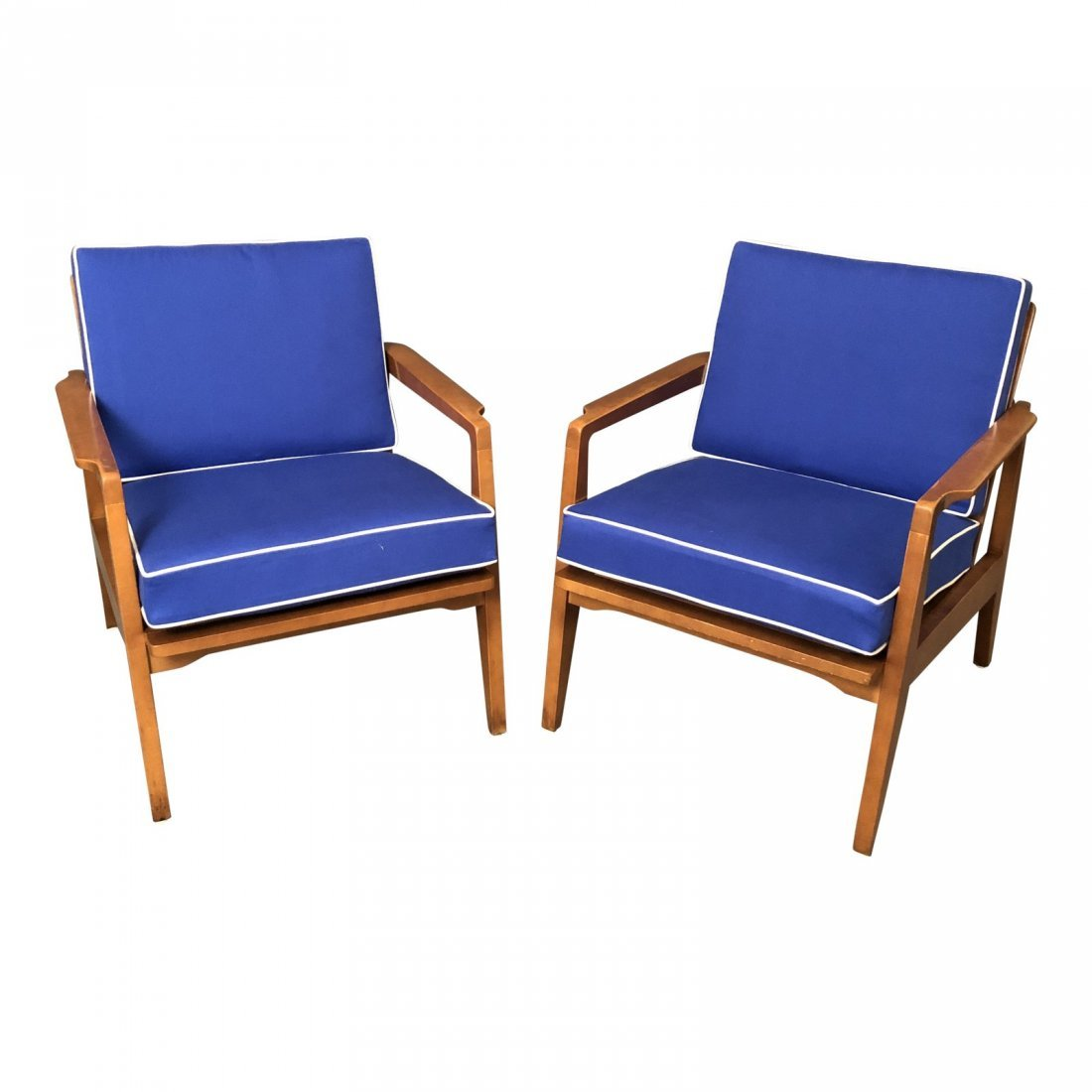 Mid-Century Danish Modern Arm Chairs With Blue Cushions