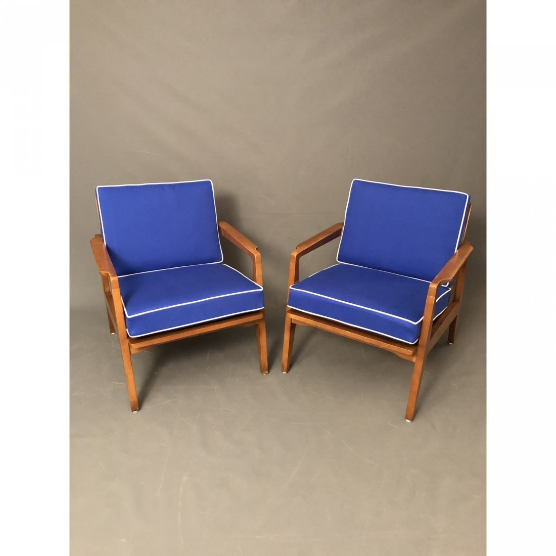 Mid-Century Danish Modern Arm Chairs With Blue Cushions - 2