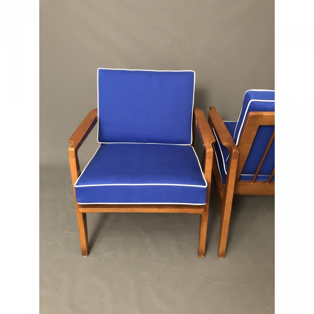 Mid-Century Danish Modern Arm Chairs With Blue Cushions - 3