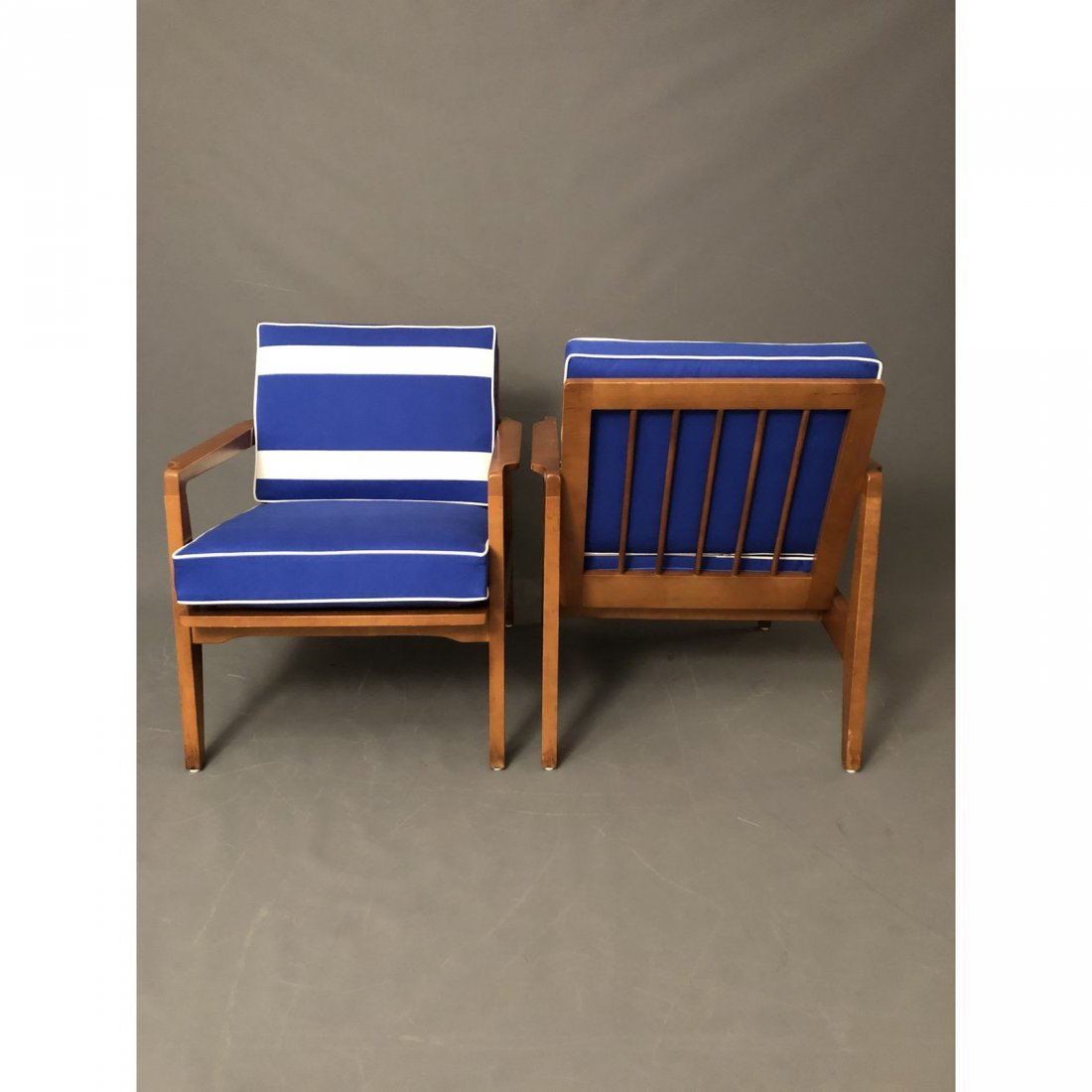 Mid-Century Danish Modern Arm Chairs With Blue Cushions - 4