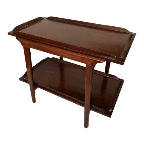 Mid-Century Walnut End Table/Coffee Table With Bottom S