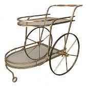 1980s Mid-Century Modern 2-Tier Glass & Brass Bar Cart