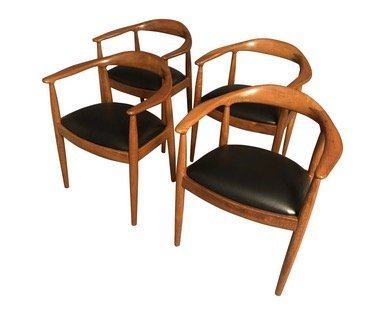 MidCentury Hans Wagner Style Curated Teak Dining Chairs