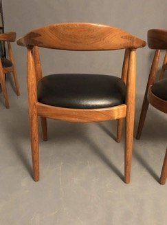 MidCentury Hans Wagner Style Curated Teak Dining Chairs - 2