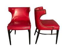 1940s Vintage Art Deco Klismos Lounge Chairs- A Pair