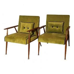 Thonet Mid Century Lounge Arm Chairs Green Velvet Pair