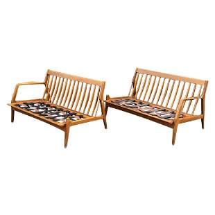 Heywood Wakefield two love seat sofa maple