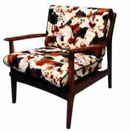 Mid-Century curated walnut danish arm chair cowhyd