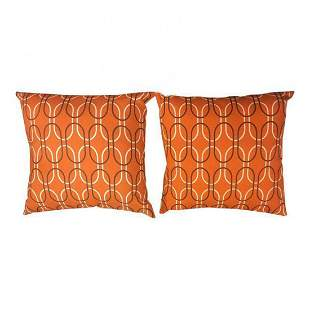 Pair of Retro Mid-Century geometric orange pillows