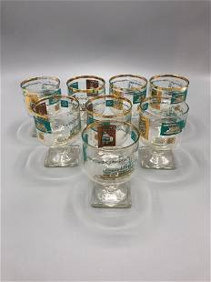 Mid-Century painted lowball glass with golden teal