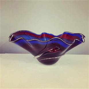 Mid-Century handblown large sculpture wavy bowl large