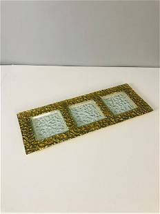 Mid century art glass textured glass with gold frame