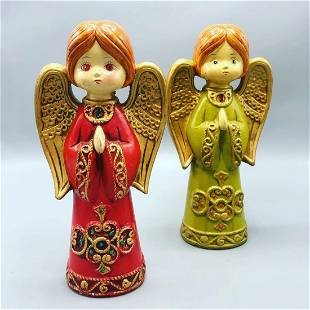 Mid century pair of hand made porcelain angels green
