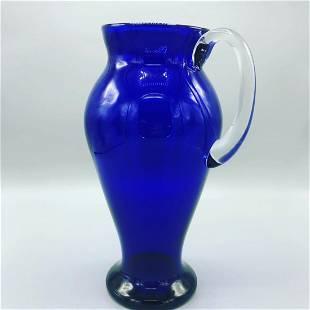Mid century hand blown vase pitcher/vase in blue shade