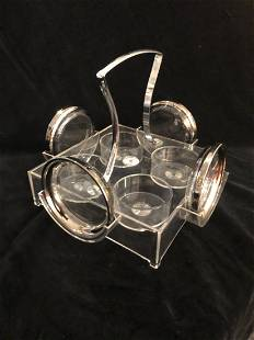 Mid-Century Lucite caddy holder tray coasters