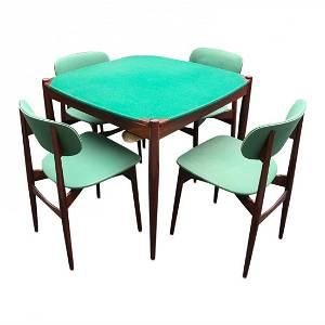 Rare Mid-Century Game table with 4 chairs made in italy