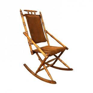Stunning Mid- century teak handmade small rocking chair