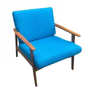 Mid Century reupholstered danish teak lounge chair