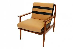 Curated Mid century danish arm chair with wool cushions