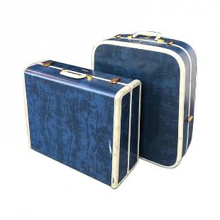 Per Mid Century luggage real blue leather by Samsonite