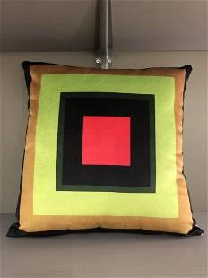 Contemporary Custom Made Geometric Square Velvet Pillow