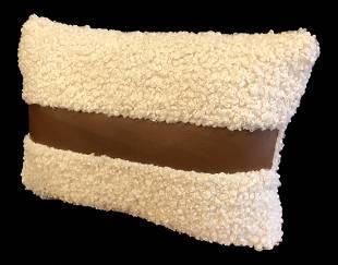 Cream Boucle Faux Sherling & Leather Stripe Lumbar Pill